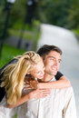 Young couple walking outdoors Royalty Free Stock Photo