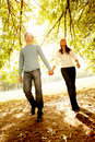 Young couple walking together in Autumn Royalty Free Stock Photography
