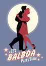 Young couple wearing retro clothing, dancing `balboa` style swing