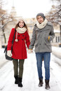 Young couple in winter setting Stock Photo