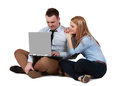 Young couple working on a laptop Stock Photo