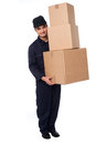 Young courier guy moving boxes delivery holding stack of parcel Royalty Free Stock Photography