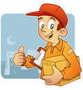 Young Courier thumb up Royalty Free Stock Images
