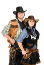Young cowboy and cowgirl Stock Image