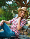 Young cowgirl in hat portrait of Stock Photo