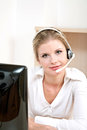 Young customer service representative online computer Royalty Free Stock Photos