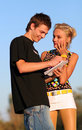 Young cute couple boy and girl Stock Photography