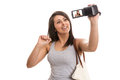 Young cute tourist recording video greetings Royalty Free Stock Photo