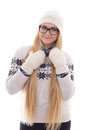 Young cute woman in eyeglasses with long hair in warm winter clo clothes isolated on white background Stock Images