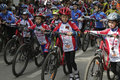 Young cyclists of sports school of Pyatigorsk (Russia) on parade Royalty Free Stock Photo