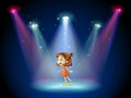 A young dancer at the center of the stage illustration Royalty Free Stock Photography