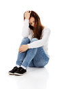 Young depression woman sitting on the floor Royalty Free Stock Photo