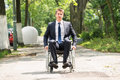 Young Disabled Man On Wheelchair Royalty Free Stock Photo