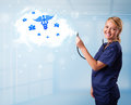 Young doctor with abstract cloud and medical icons beautiful Royalty Free Stock Photo