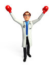 Young Doctor with boxing gloves Royalty Free Stock Image