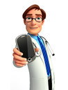 Young doctor with mobile d rendered illustration of Royalty Free Stock Image