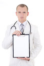 Young doctor showing folder with copy space for text isolated on white background Royalty Free Stock Photography