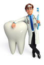 Young doctor with teeth d rendered illustration of Stock Images