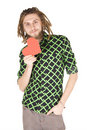 Young dreadlock man with red paper heart isolated Royalty Free Stock Image