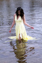 Young East Indian Woman Standing In River Stock Photography
