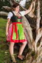 Young elegant woman in bavarian dress fashion shot of a dirndl with oversize standing on an old tree stump on a mountain meadow Stock Photos