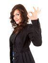 Young elegant woman showing ok sign Stock Image