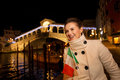 Young elegant woman spending Christmas time in Venice, Italy Royalty Free Stock Photo