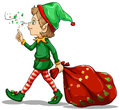 A young elf dragging a sack of gifts illustration on white background Royalty Free Stock Photo