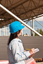 Young engineer at  construction site Royalty Free Stock Image