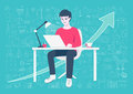 Young entrepreneur working on online business from home on his home working table with hand drawn business icons and arrow backgro Royalty Free Stock Photo