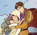 Young fairy tale couple of lovers hugging vector each other illustration Royalty Free Stock Photography