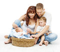 Young family four persons, smiling father mother two children Royalty Free Stock Images
