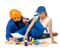 Young family plans repair of a children's room. Royalty Free Stock Photo