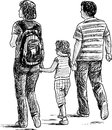 Young family on a walk vector drawing of the walking Stock Image
