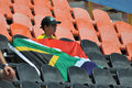 A young fan with the flag of south africa photo was taken during iaaf world junior championships on july in donetsk ukraine Royalty Free Stock Image