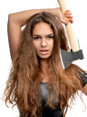 Young fashion  beautiful woman with axe i Royalty Free Stock Photo