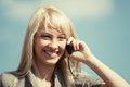 Young fashion business woman calling on cell phone blond Royalty Free Stock Photography
