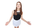 Young fashion girl welcoming isolated top view in white skirt on white background Royalty Free Stock Image