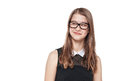 Young fashion teenage girl in glasses looking on something Royalty Free Stock Photo