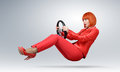 Young fashionable girl in red driver car with a wheel Royalty Free Stock Photo