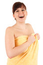 Young fat woman in towel, after shower Stock Photography