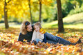 Young father and his daughter have fun at autumn Royalty Free Stock Photo