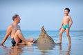 Young father and his son playing at beach Royalty Free Stock Photo