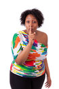 Young fatty black woman making silence gesture african people isolated on white background Stock Photo