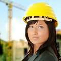 Young female architect or builder Royalty Free Stock Photography