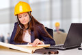 Young female architect studying plans on construction site Royalty Free Stock Photos