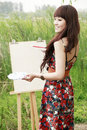 Young female artist outdoor Royalty Free Stock Images