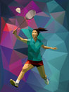 Young female badminton player during smash vector on triangle multicolor background Royalty Free Stock Image