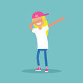 Young female character making DAB dance