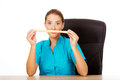Young female dietician holding measure tape Royalty Free Stock Photo